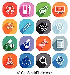 Trendy Flat science icons. Vector elements - Trendy Flat...