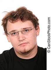 portrait of young man in glasses