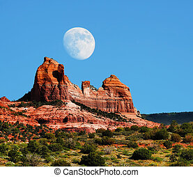 Sedona Moon - Moon over Red Rock country mountains...
