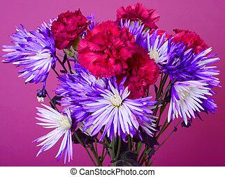 Floral arrangement isolated over a pink background