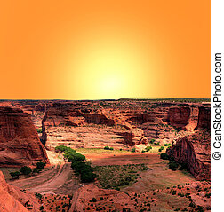 Canyon de Chelly - Sunrise at Canyon de Chelly Navajo indian...
