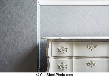 Close-up of sideboard - Close-up of retro style white...