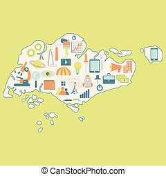 Map of Singapore with technology ic