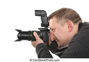 fotografo, bianco, isolato