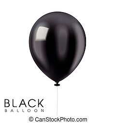 close up look at black balloon isolated on white