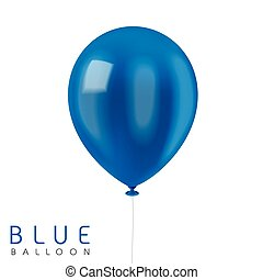close up look at blue balloon isolated on white