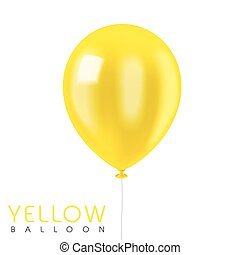 close up look at yellow balloon isolated on white
