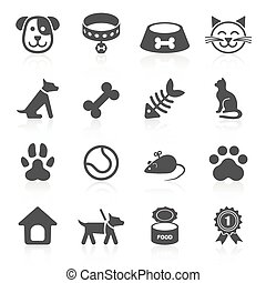 Trendy pet icons isolated on white. Vector elements