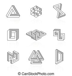 Trendy optical illusion shapes on white Vector elements