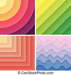 Trendy geometric gradient background pack. Vector...