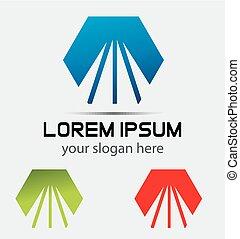 Hexagon logo road and ways idea template logo design