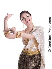 Thai Lady in vintage original Thailand attire dance action...