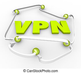 VPN Virtual Private Network 3d Letters Connected Secure...