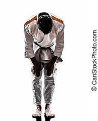 judoka, lutador, homem, silueta, saudando,