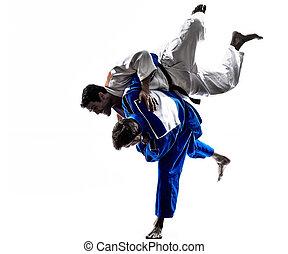judokas, luchadores, lucha, hombres, silueta,