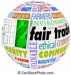 Fair Trade Words Globe International Business Policy Open...