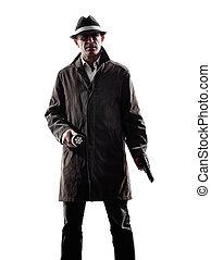 detective, hombre, criminal, investigations, silueta,