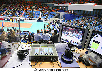 the place of commentator on the sport competition is working