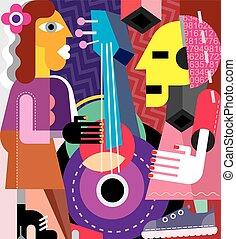 Musicians vector illustration. Woman playing guitar, man...