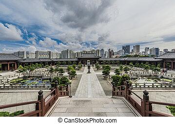 Chi Lin Nunnery courtyard Kowloon Hong Kong - Chi Lin...