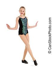 Happy Preteen Tap Dancer Posing