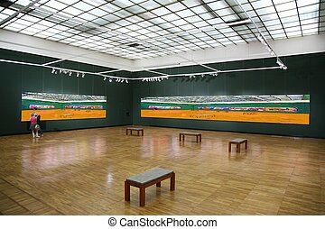 in the art gallery. in the art gallery 2. All pictures on wall just filtered whole this photo