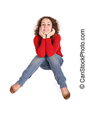 happy curly girl sit red jacket, blue jeans