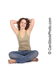 smiling yoga woman isolated on white
