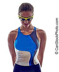 woman triathlon ironman athlete on white background