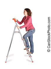 young woman on  stepladder on white