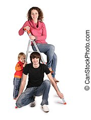 family on the stepladder on the the white