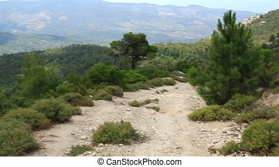 Beautiful dirt road in the mountains. Sithonia peninsula....