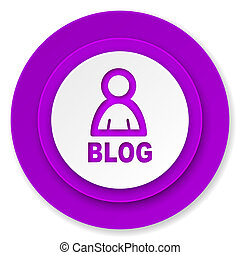 blog icon, violet button