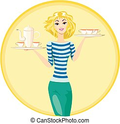 Waitress Carrying a Tray with Cups of Coffee and Tea, Vector...