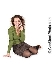 young woman talk on the cell phones on white