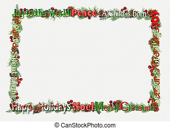 Christmas word art border - Holiday pine and berries for...