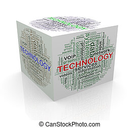 3d cube word tags wordcloud of technology