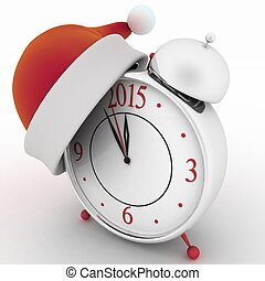 Alarm clock with christmas santa hat, 3d illustration on...