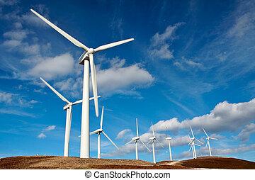 viento, turbinas, granja