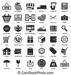 Shopping and logistic icons set, vector