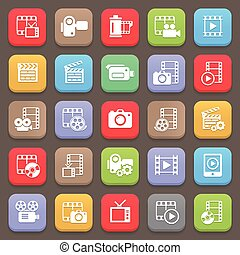 Film and movie icons for web or mobile. Vector illustration