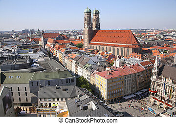 panorama of Munich with Cathedral of Our Lady