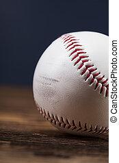 beisball, Pelota, en, de madera, tabla,