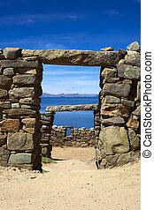 Arqueológico, sitio,  Sol,  chinkana,  del,  ISLA,  Bolivia