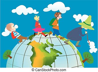 travelers - composition of children who roam the globe