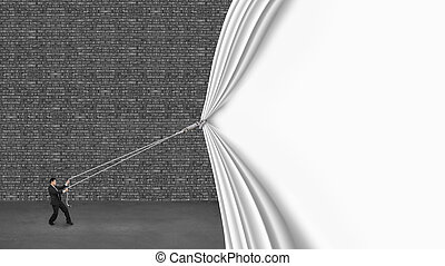 businessman pulling down white curtain covering old dark...