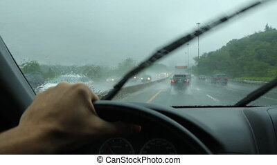Rainy drive in Toronto. DVP.