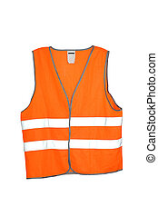 Safety vest - Orange safety vest isolated included clipping...