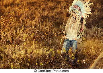 aborigine fasion - Fashion shot of a beautiful girl in style...