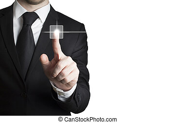 businessman pushing touchscreen button isolated white...